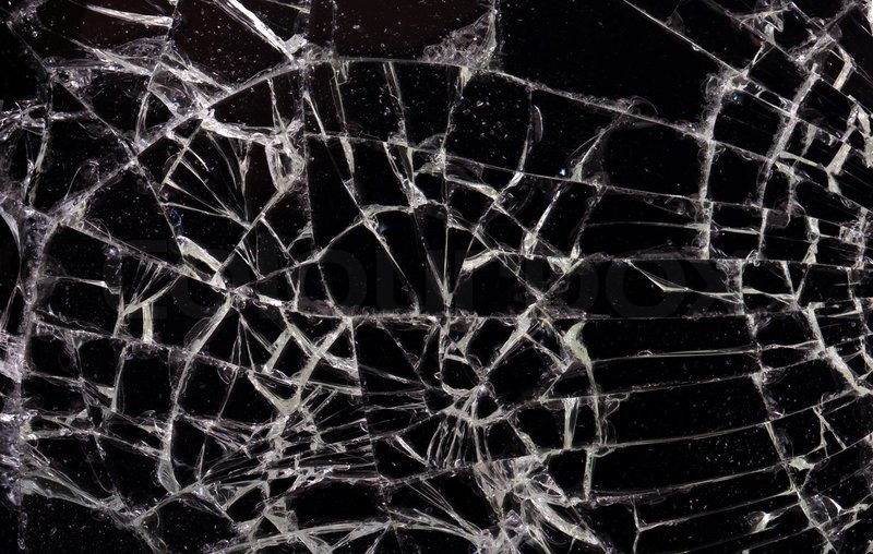Full screen broken glass, black background horizontal ...