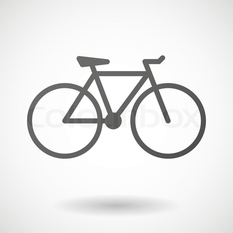 Bicycle icon with shadow on white background, vector