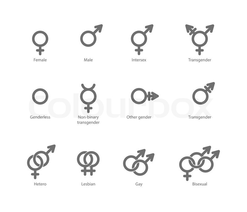Vector Outlines Icons Of Gender Symbols And Combinations Male