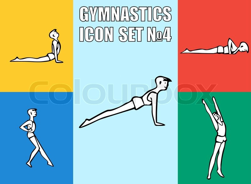 Set of yoga or gymnastics poses. Boy in recreation activities. Healthy lifestyl exercises. Vector illustration icon EPS10, vector