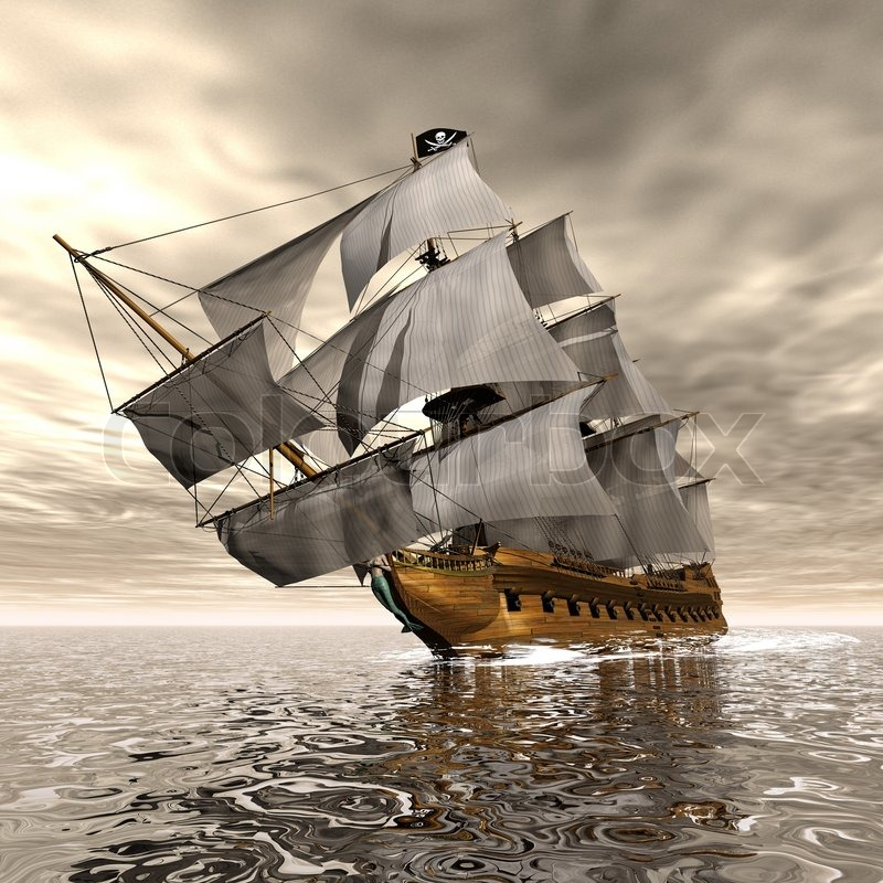 Beautiful Detailed Pirate Ship Floating On The Ocean By Cloudy
