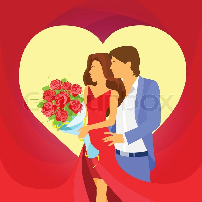 Valentine Day Holiday Couple Embrace Heart Shape, Valentineu0027s Rose Bouquet  Flowers Gift Card Vector Illustration | Stock Vector | Colourbox