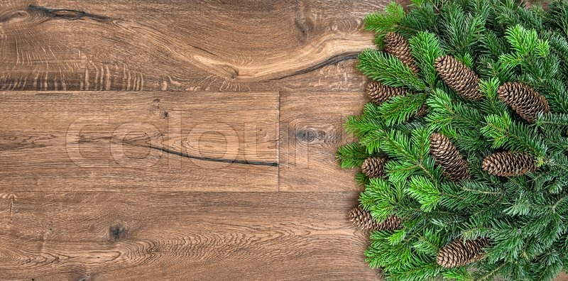 Christmas Tree Branches Over Rustic Wooden Background Green Border From Undecorated Evergreen Twigs Stock Photo