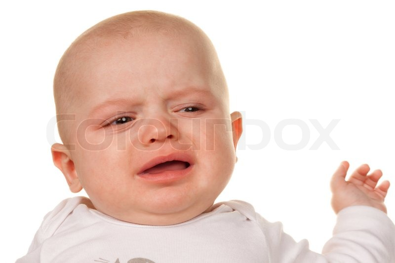 face and portrait of a crying little babies sad baby stock photo