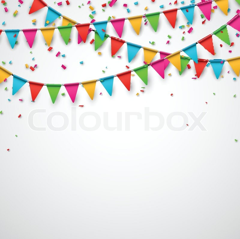 Celebrate Background. Party Flags With ...