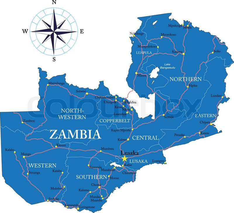 Map Zambia.Highly Detailed Vector Map Of Zambia Stock Vector Colourbox