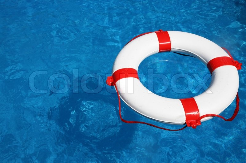 Life Ring Floating In A Pool Symbolic Photo For Help