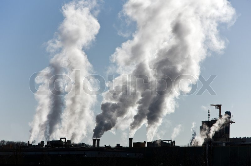 Smoking Chimney Of An Industrial Company Pollution And