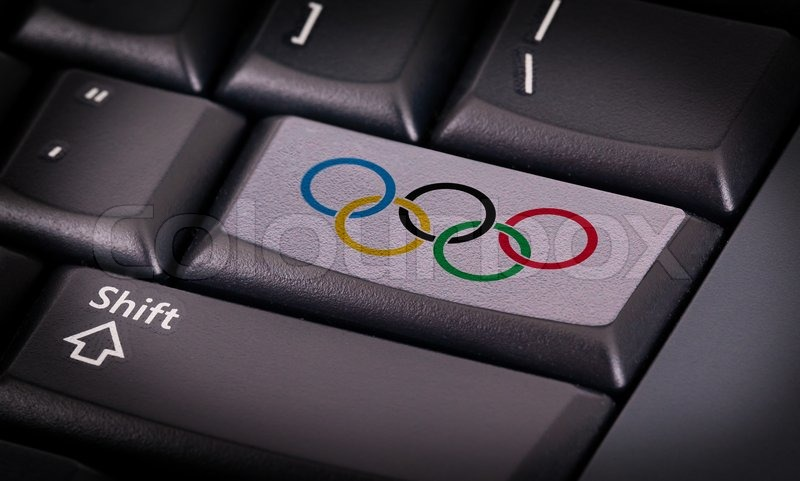 Symbol On Button Keyboard Olympic Rings Om White Button Stock
