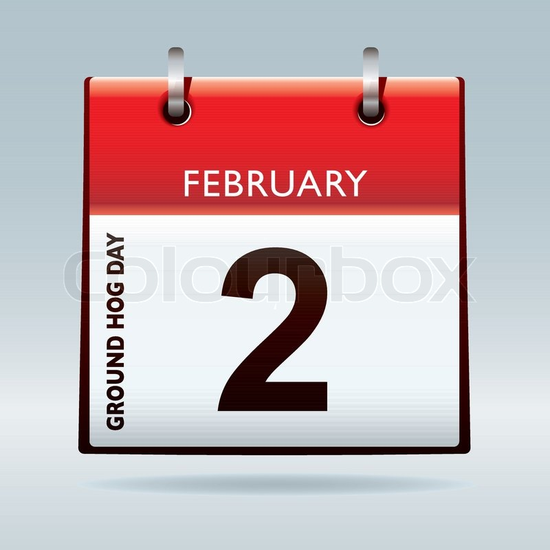 Red Calendar Top Icon With Ground Hog Day On February 2nd Stock