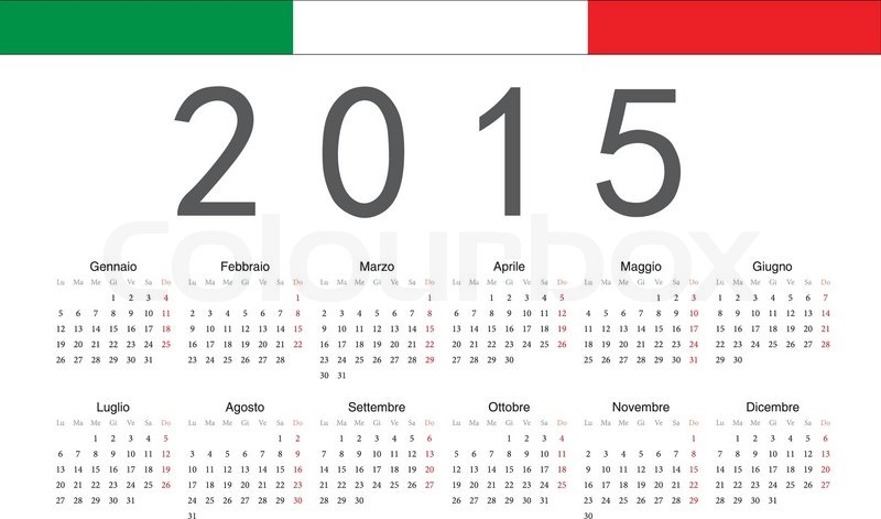 simple italian 2015 year vector calendar week starts from monday stock vector colourbox