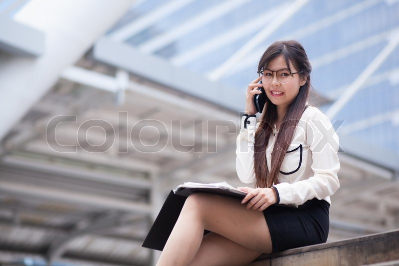 Businesswoman Talking Phone Happy Stock Image Colourbox