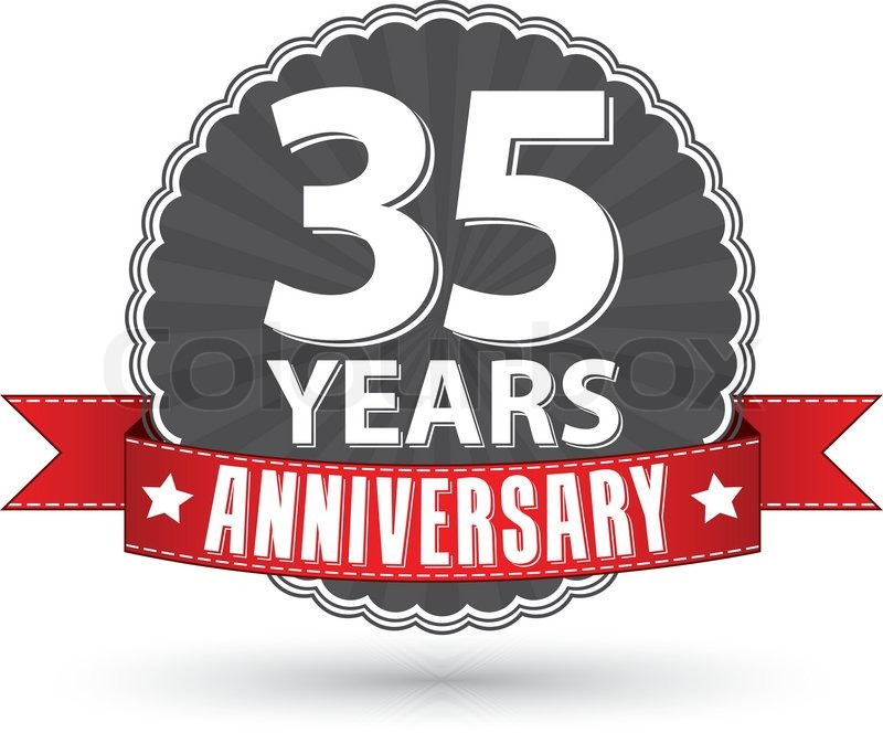Celebrating 35 Years Anniversary Retro Label With Red Ribbon Vector