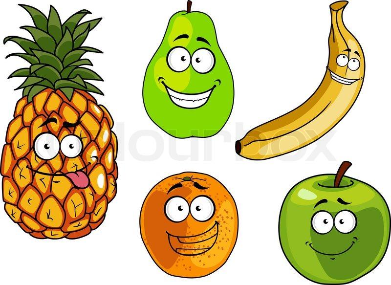 Cartoon happy apple, banana, orange,     | Stock vector