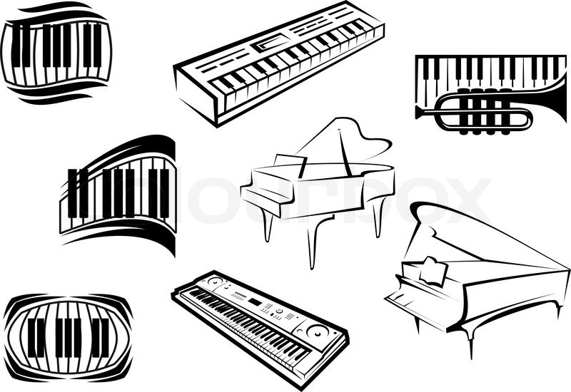 Piano Musical Outline Icons And Symbols With Piano Keyboards Grand