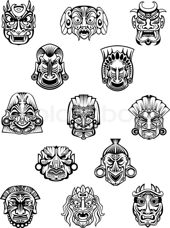 ritual ceremonyl tribal masks in traditional african style with