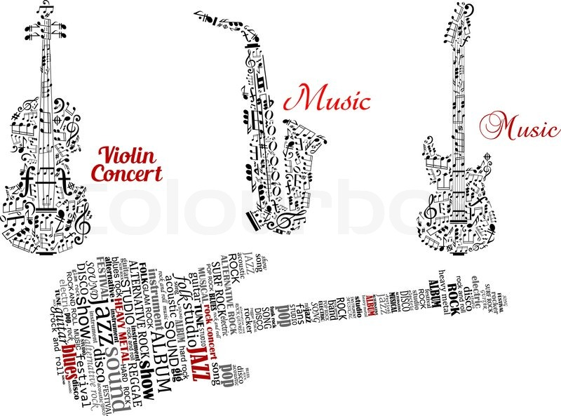 Abstract Black Guitar Violin Saxophone Made From Notes Music