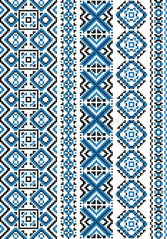 Ethnic embroidery patterns and borders with blue geometric