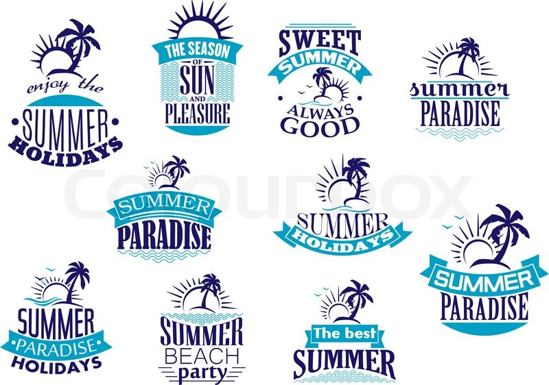Summer Holidays Emblems And Logo In Blue With Beach Sunrise Palm Tree Wave For Travel Or Leisure Design