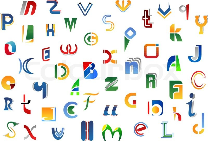 Alphabet Letters And Symbols With Colorful Uppercase And Lowercase