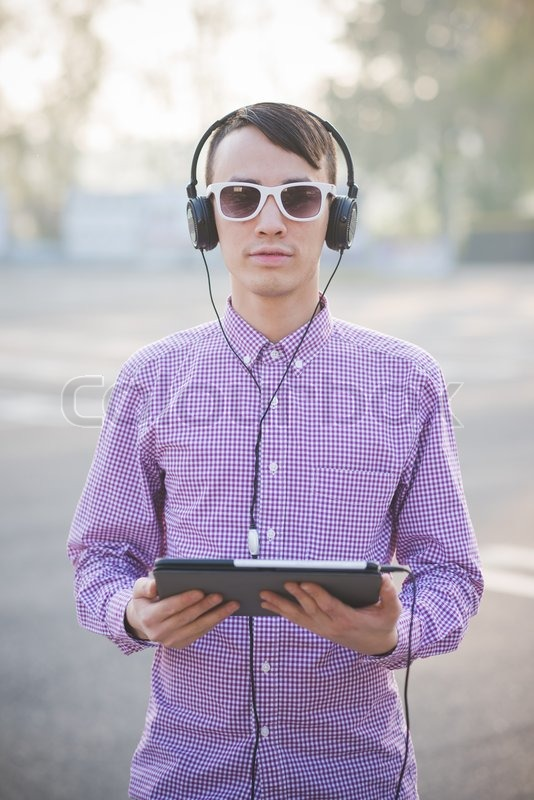 Young Crazy Funny Asian Man In Town Stock Image
