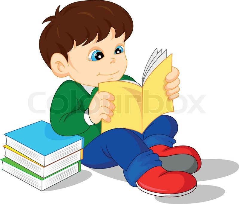 Illustration of cute boy reading books | Stock Vector ...