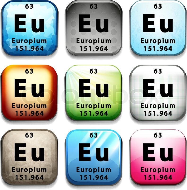 A Button Showing The Element Europium On A White Background Stock