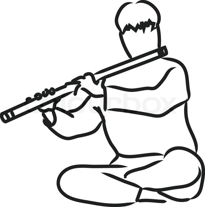 Vector silhouette of indian musician playing flute   Stock ...