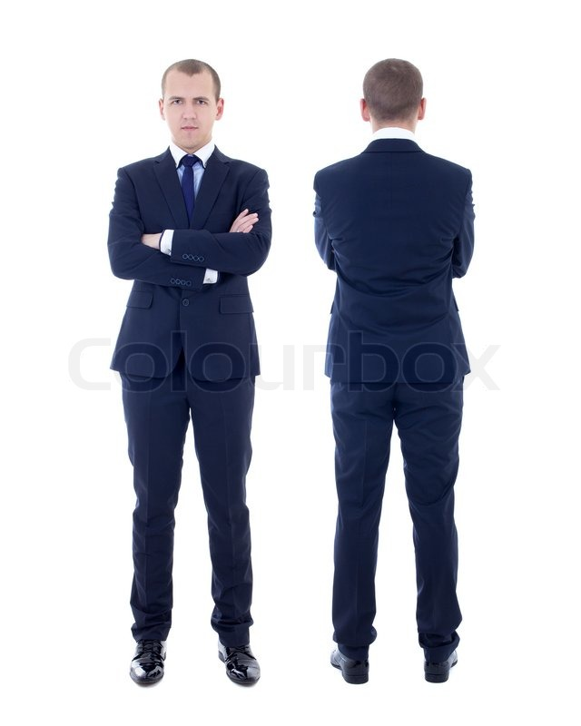 Front and back view of young man in business suit isolated ...