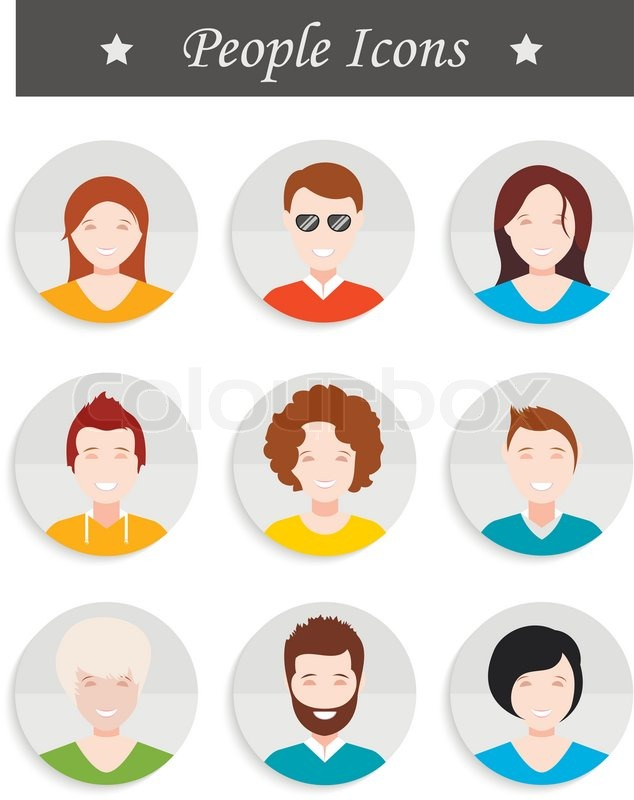 People Avatar Male And Female Human Faces Social Network