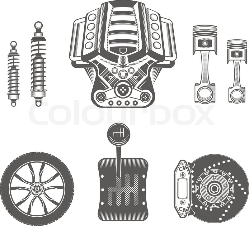Vector set of parts of the machine. Engine, gearbox, shock absorber ...