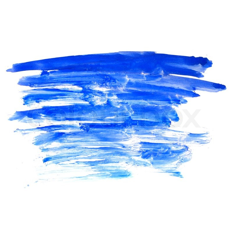 blue stroke paint brush color water watercolor isolated on white