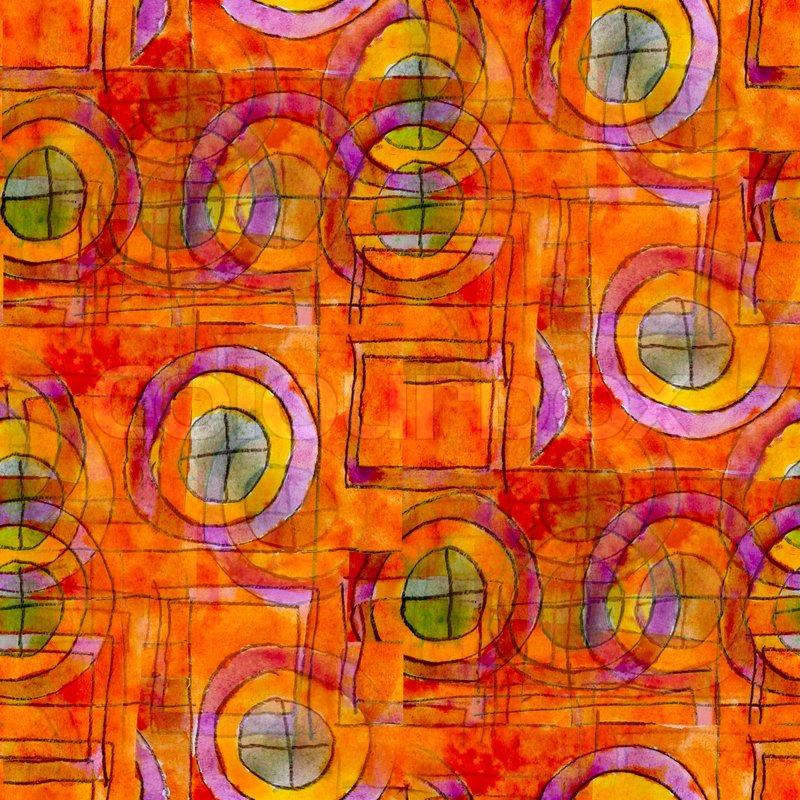 Orange seamless cubism abstract art ... | Stock Photo ...