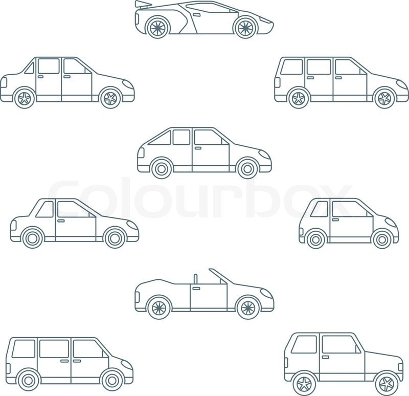 Vector Dark Outline Body Types Cars Classification Icons Set Sedan