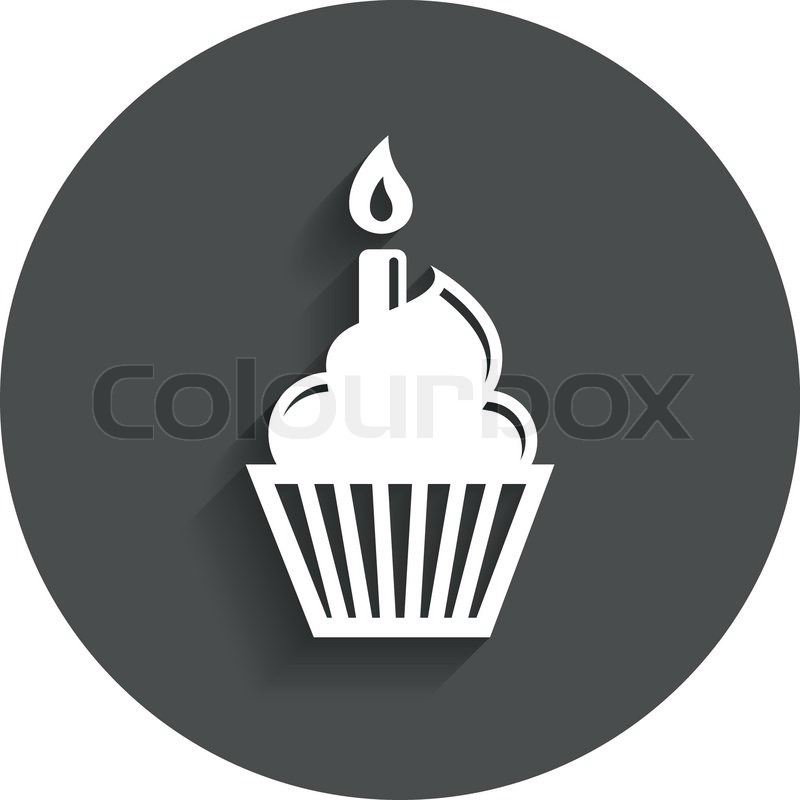 vector of Birthday cake sign icon. Cupcake with burning candle symbol ...