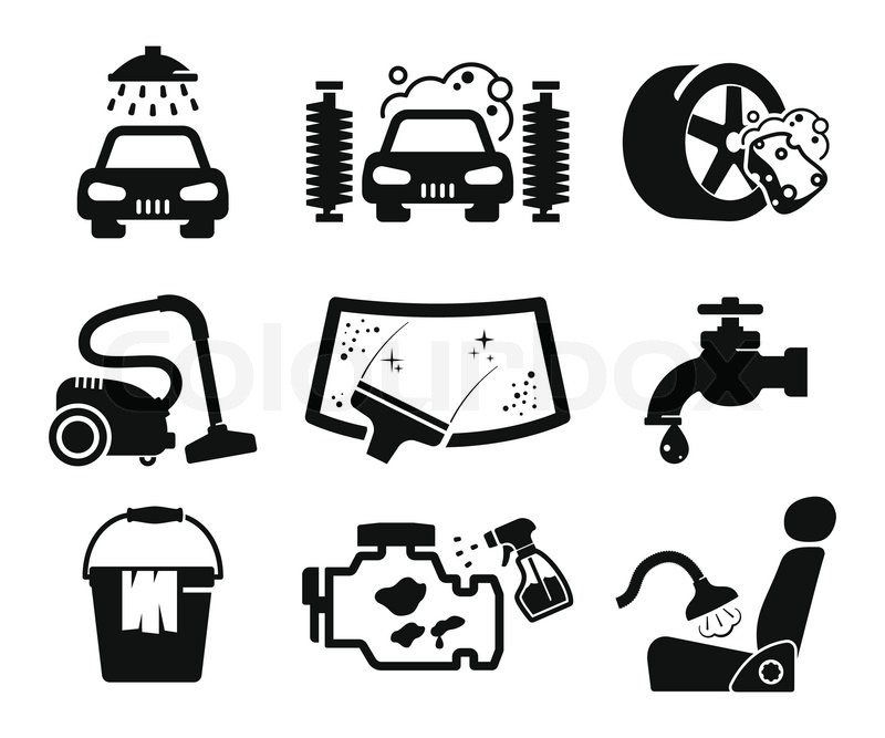 Car Wash And Car Service Icons Collection Stock Vector