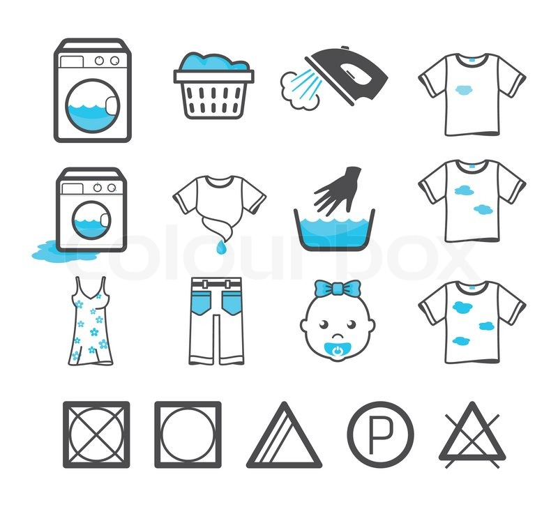 Laundry Icons Set Clothing Care And Washing Signs Stock