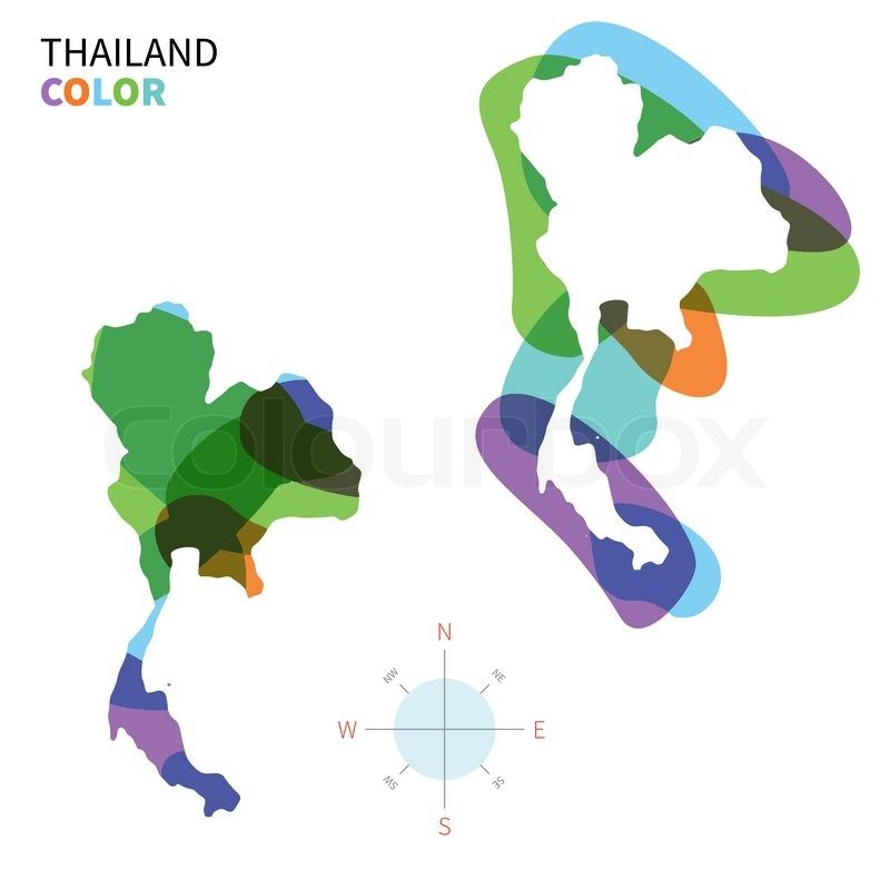 Abstract vector color map of Thailand with transparent paint effect ...