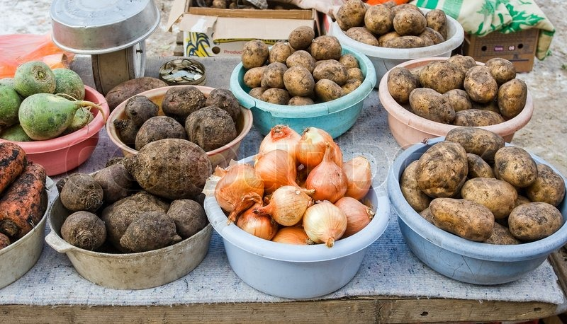 Raw vegetables ready for sale at the local street market in Samara, Russia, stock photo