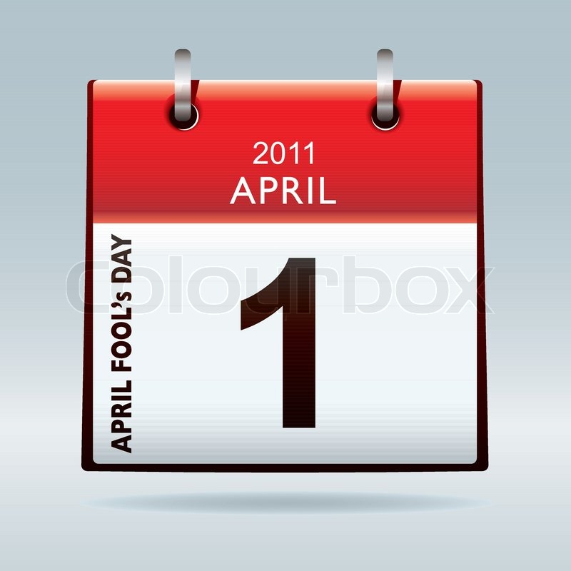 Calendar April Fools Day : April fools day calendar icon with red banner and drop