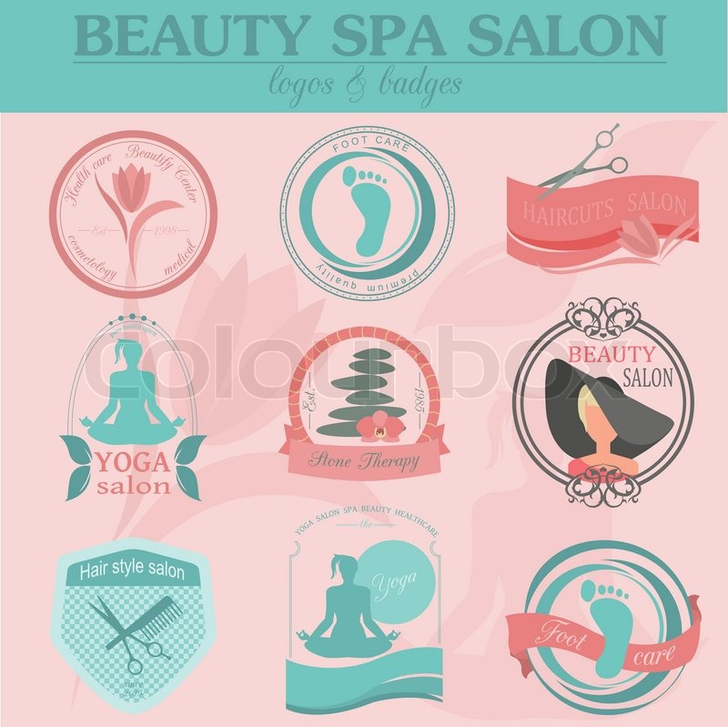 Set Of Vintage Hairstyle Body Care And Cosmetology Logos Vector