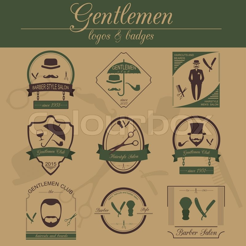 Set Of Vintage Barber Hairstyle And Gentlemen Club Logos Vector