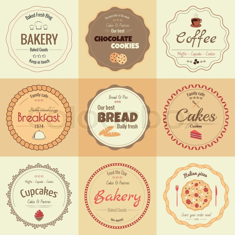 set of 9 circle bakery labels warm colors stock vector