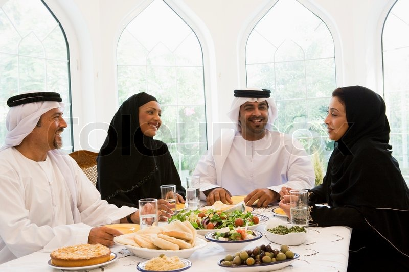 Arabic Eating Four People Stock Photo Colourbox