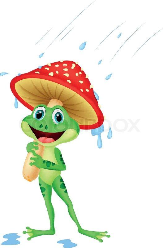 Vector illustration of Cute frog cartoon wearing rain gear ...