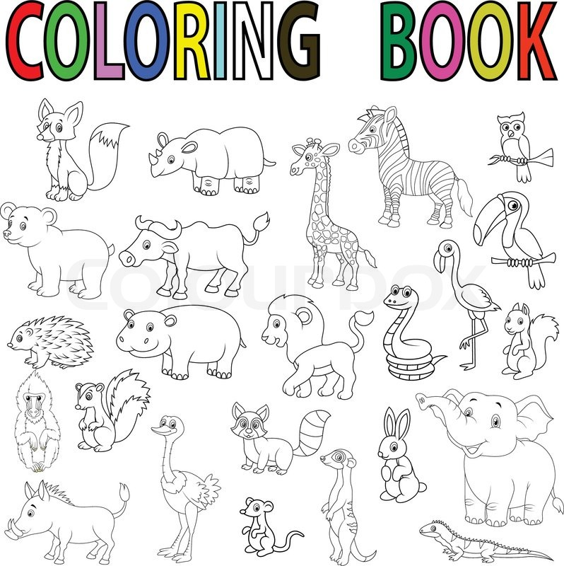 Vector illustration of Wild animal cartoon coloring book Stock