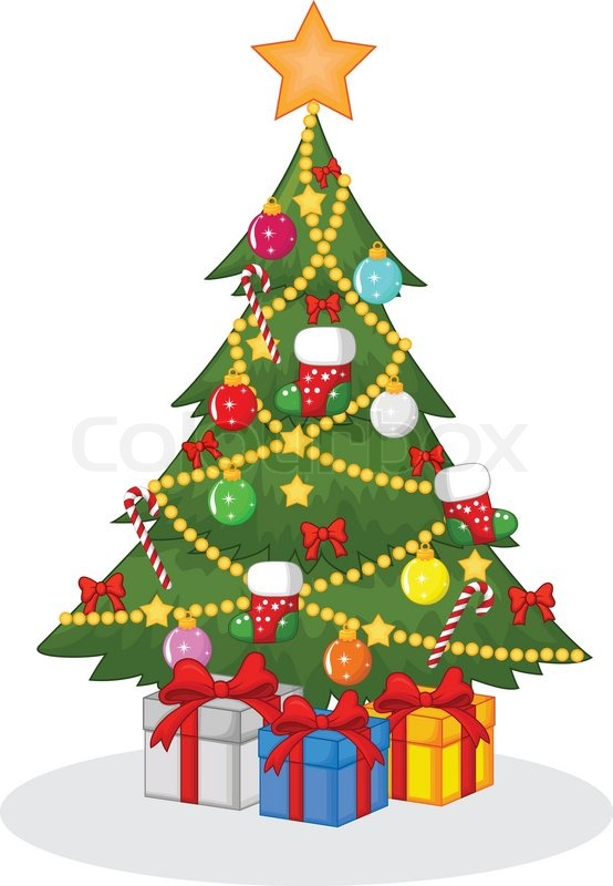 vector illustration of cartoon decorated christmas tree stock rh colourbox com cartoon xmas tree pictures cartoon christmas tree pictures free
