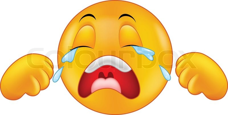 vector illustration of crying emoticon cartoon stock