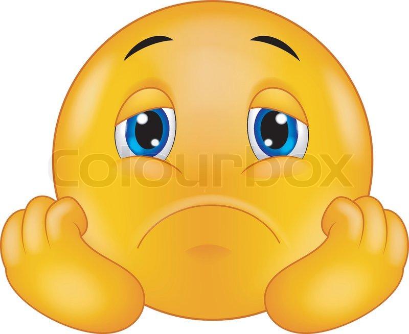 Vector Illustration Of Sad Smiley Emoticon Cartoon Stock Vector