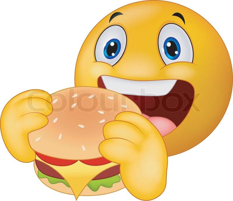 vector illustration of cartoon emoticon smiley eating hamburger stock vector colourbox. Black Bedroom Furniture Sets. Home Design Ideas
